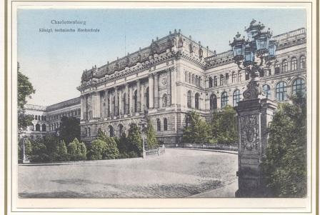 Alte Postkartensicht vom Hauptgebäude der Technischen Universität Berlin