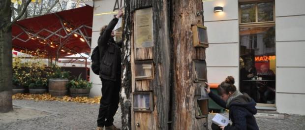 Gibt was her: Im Bücherbaum in der Kollwitzstraße, Ecke Sredzkistraße steht Maupassants Bel Ami. © Jan Lindenau