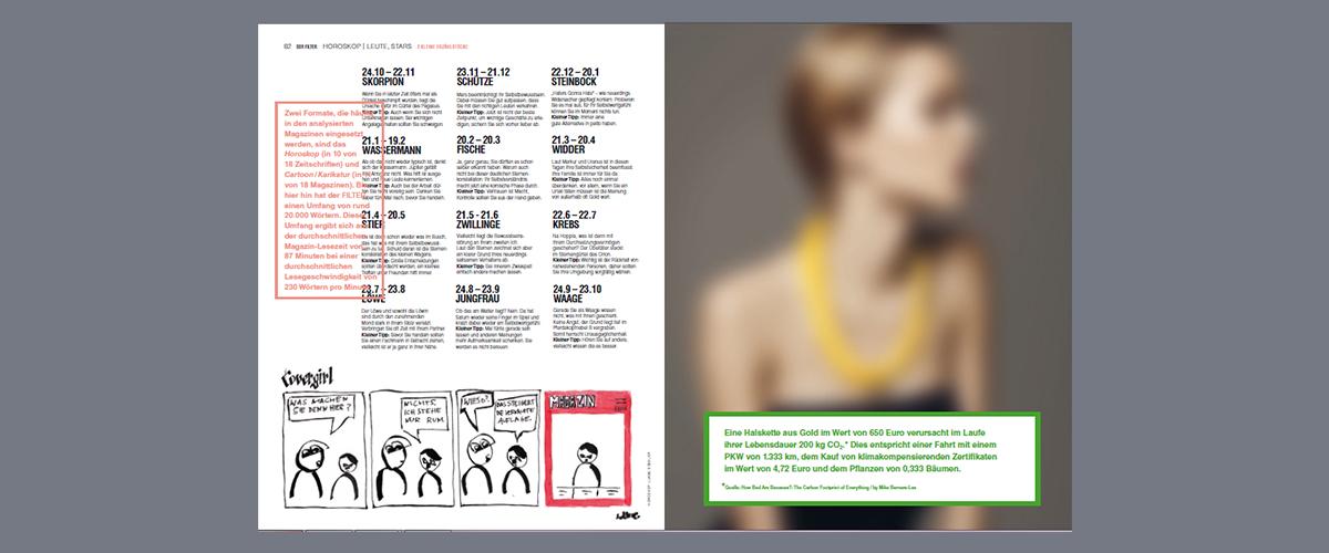 Für das Layout haben sich die Grafiker von den Gewinnern der LEAD-AWARDS 2015 inspirieren lassen. Dadurch entstanden z.B. die flamingofarbenen Infokästen und die Text-auf-Text-Überlagerungen. - Foto: DER FILTERS